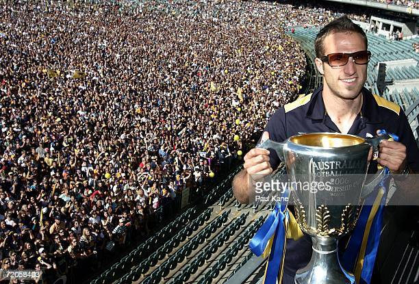 Chris Judd captain of the West Coast Eagles displays the 2006 AFL Premiership Cup at Subiaco Oval after winning the 2006 AFL Premiership on October 1...