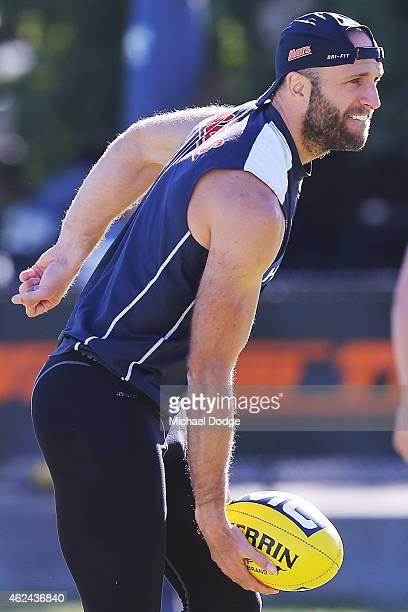 Chris Judd handpasses the ball during a Carlton Blues AFL preseason training sessions on January 29 2015 in Mansfield Australia