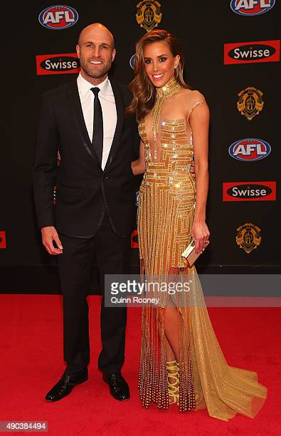 Chris Judd of the Blues and Rebecca Judd arrive at the 2015 Brownlow Medal at Crown Palladium on September 28 2015 in Melbourne Australia