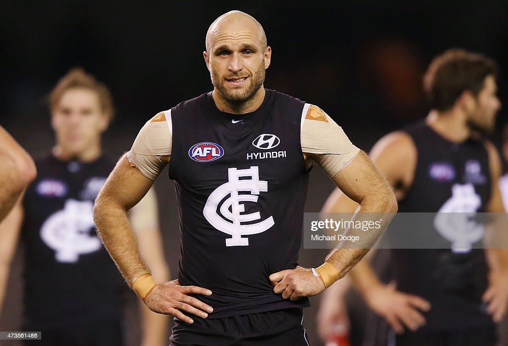 Chris Judd of the Blues walks off after defeat during the round seven AFL match between the Carlton Blues and the Greater Western Sydney Giants at Etihad Stadium on May 16, 2015 in Melbourne, Australia.