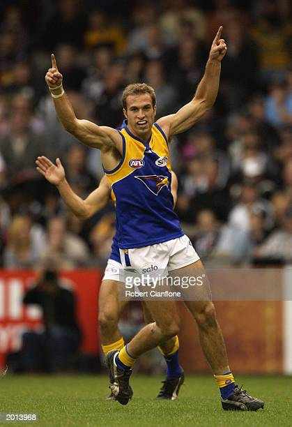 Chris Judd of the Eagles celebrates a goal during the round eight AFL Premiership Cup match between the Collingwood Magpies and the West Coast Eagles...