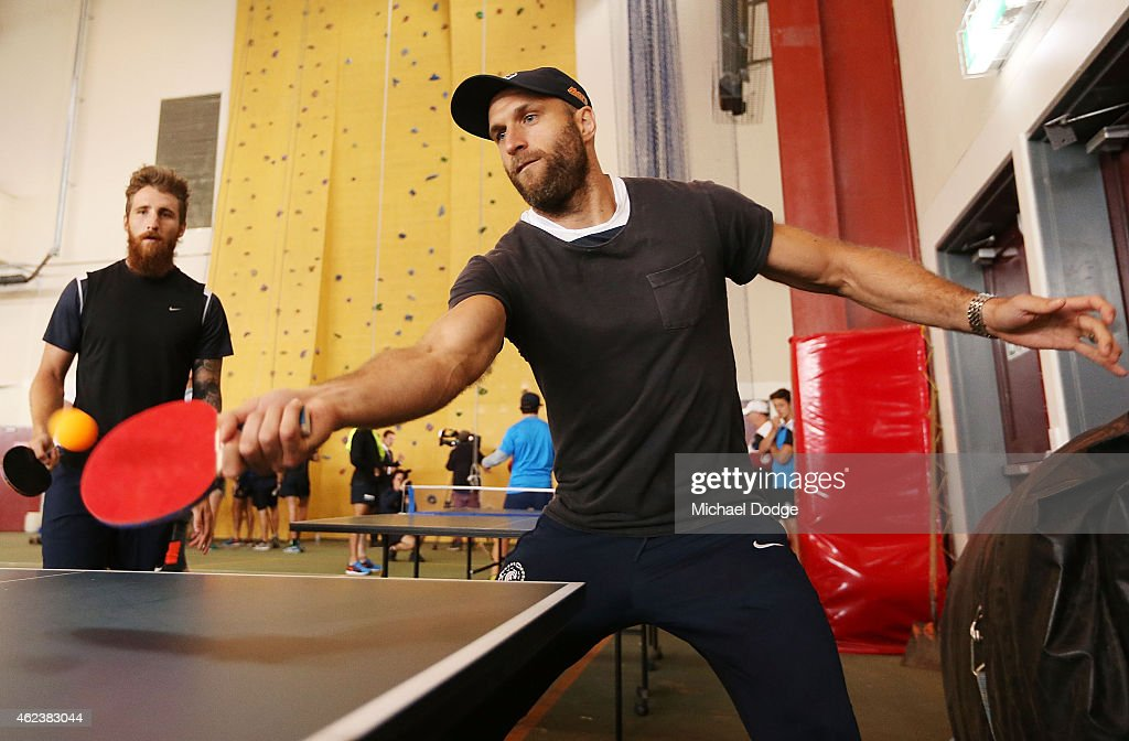 Chris Judd plays table tennis in the recreation centre on Mount Buller during the Carlton Blues AFL training camp on January 28, 2015 in Mount Buller, Australia.