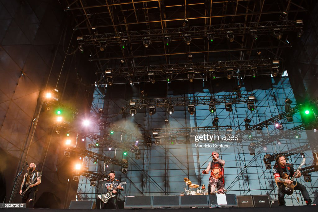 Chris Kael, Jason Hook, Jeremy Spencer, Ivan Moody and Zoltan Bathory members of the band Five Finger Death Punch performs live on stage at Autodromo de Interlagos on May 13, 2017 in Sao Paulo, Brazil.