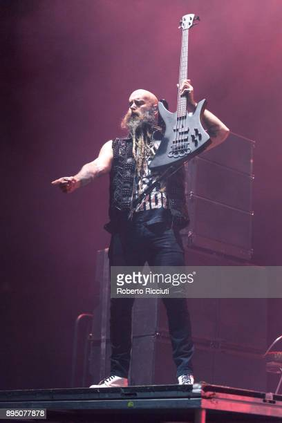 Chris Kael of Five Finger Death Punch performs live on stage at The SSE Hydro on December 18 2017 in Glasgow Scotland