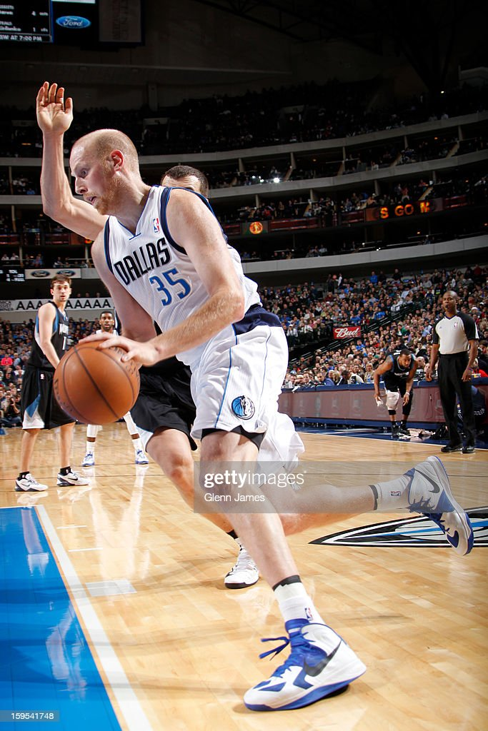 Chris Kaman #35 of the Dallas Mavericks drives to the basket against the Minnesota Timberwolves on January 14, 2013 at the American Airlines Center in Dallas, Texas.