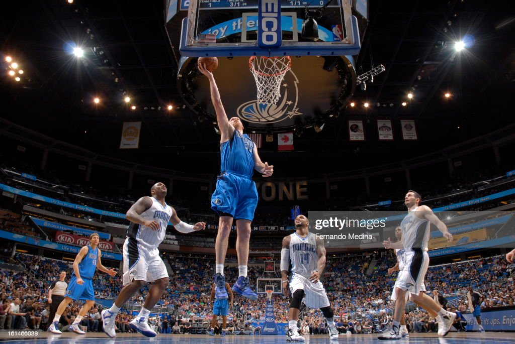 Chris Kaman #35 of the Dallas Mavericks goes up for the easy layup against the Orlando Magic during the game on January 20, 2013 at Amway Center in Orlando, Florida.