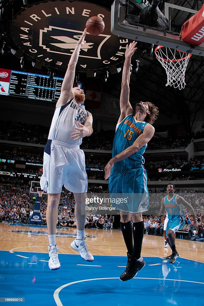 Chris Kaman #35 of the Dallas Mavericks puts up a shot against the New Orleans Hornets on April 17, 2013 at the American Airlines Center in Dallas, Texas.