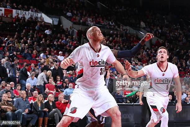 Chris Kaman of the Portland Trail Blazers fights for the position against the Memphis Grizzlies during the game on November 5 2015 at the Moda Center...