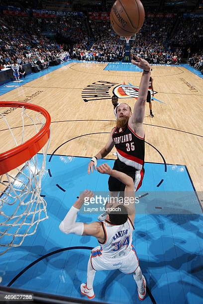Chris Kaman of the Portland Trail Blazers shoots against the Oklahoma City Thunder on April 13 2015 at Chesapeake Energy Arena in Oklahoma City...