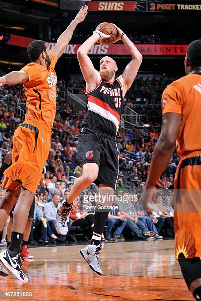 Chris Kaman of the Portland Trail Blazers shoots against the Phoenix Suns on March 27 2015 at US Airways Center in Phoenix Arizona NOTE TO USER User...