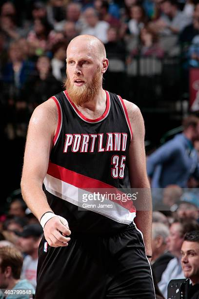 Chris Kaman of the Portland Trail Blazers stands on the court during a game against the Dallas Mavericks on February 7 2015 at the American Airlines...
