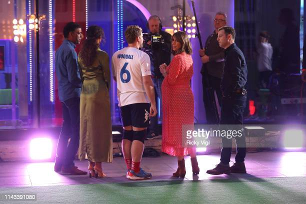 Chris Kamara Rochelle Humes Alex Jones and Matt Baker seen filming The One Show at BBC Broadcasting House on April 17 2019 in London England