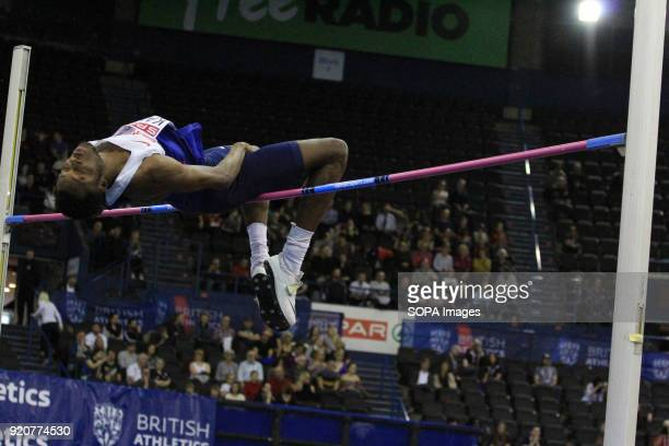 Chris Kandu of Enfield and Haringey competes during the High Jump at the British Indoor Championships in Birmingham