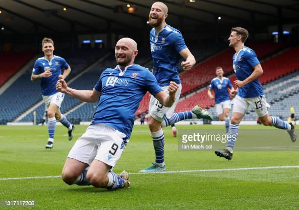 Chris Kane of St Johnstone celebrates after scoring their side's first goal during the William Hill Scottish Cup Semi-Fianl match between St Mirren...