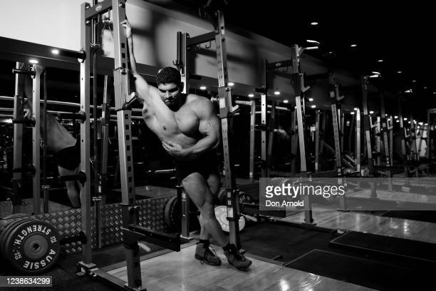 Chris Kavvalos is seen resting between sets during a workout at City Gym on May 24, 2020 in Sydney, Australia. IFFBB body builder Chris Kavvalos has...