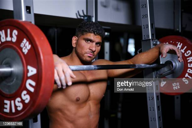 Chris Kavvalos poses between sets during a workout at City Gym on May 31, 2020 in Sydney, Australia. IFBB body builder Chris Kavvalos has continued...