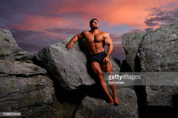 Chris Kavvalos poses during an early morning photo shoot at Little Bay on May 31 2020 in Sydney Australia IFBB body builder Chris Kavvalos has...