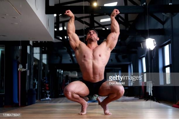Chris Kavvalos practices posing manoeuvres during a workout at City Gym on May 24, 2020 in Sydney, Australia. IFBB body builder Chris Kavvalos has...