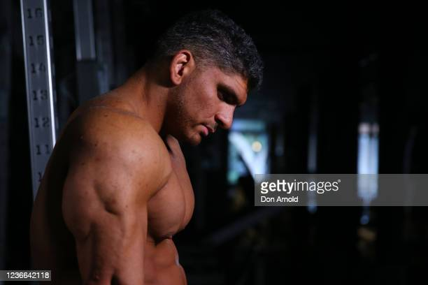 Chris Kavvalos rests between sets during a workout at City Gym on May 31, 2020 in Sydney, Australia. IFBB body builder Chris Kavvalos has continued...