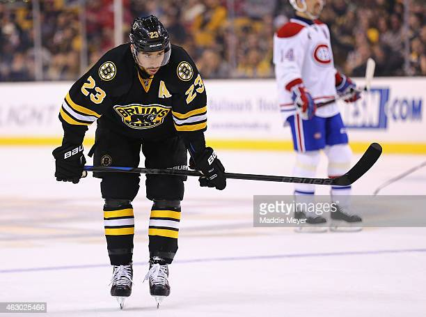 Chris Kelly of the Boston Bruins looks on during the second period against the Montreal Canadiens at TD Garden on February 8 2015 in Boston...