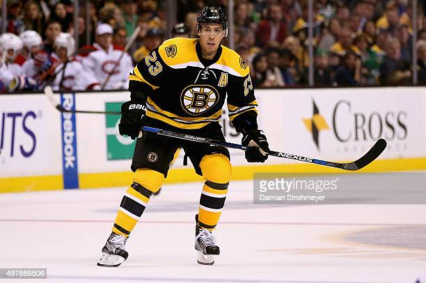 Chris Kelly of the Boston Bruins plays against the Montreal Canadiens at TD Garden on October 10 2015 in Boston Massachusetts