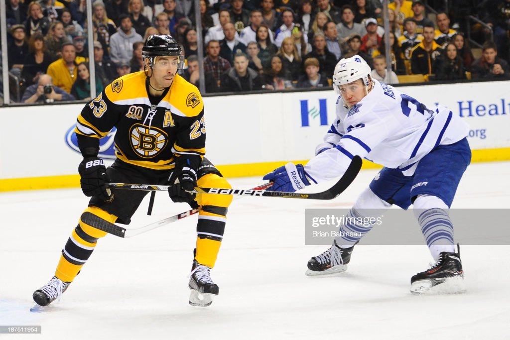Chris Kelly #23 of the Boston Bruins skates against Carter Ashton #37 of the Toronto Maple Leafs at the TD Garden on November 9, 2013 in Boston, Massachusetts.
