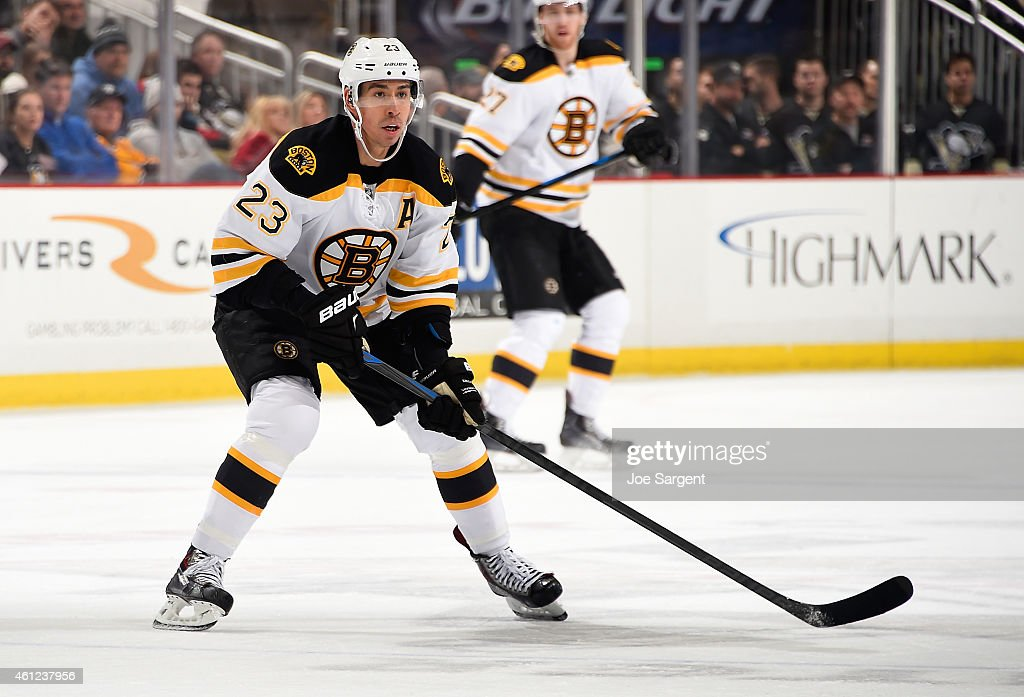 Chris Kelly #23 of the Boston Bruins skates against the Pittsburgh Penguins at Consol Energy Center on January 07, 2015 in Pittsburgh, Pennsylvania.