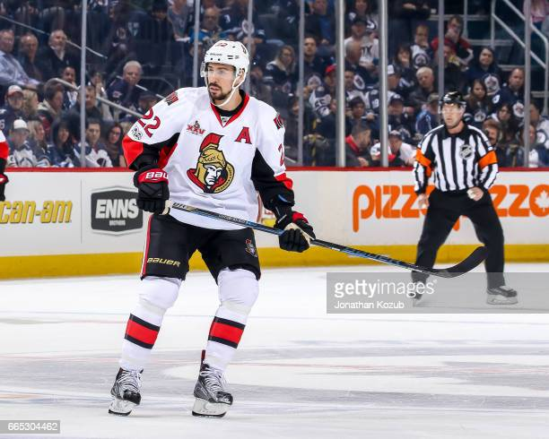 Chris Kelly of the Ottawa Senators keeps an eye on the play during first period action against the Winnipeg Jets at the MTS Centre on April 1 2017 in...
