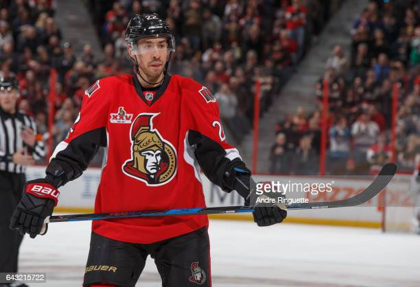 Chris Kelly of the Ottawa Senators looks on during a stoppage in play against the Winnipeg Jets at Canadian Tire Centre on February 19 2017 in Ottawa...