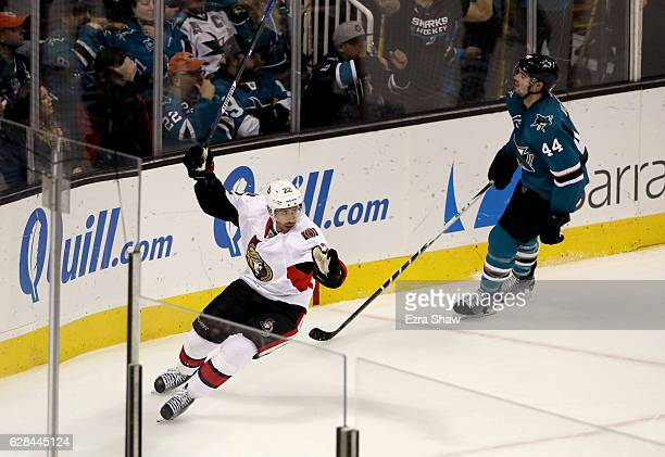Chris Kelly of the Ottawa Senators reacts after he scored on MarcEdouard Vlasic and the San Jose Sharks in the third period SAP Center on December 7...