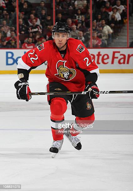 Chris Kelly of the Ottawa Senators skates against the Detroit Red Wings at Scotiabank Place on February 2 2011 in Ottawa Ontario Canada