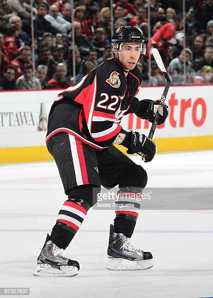 Chris Kelly of the Ottawa Senators skates against the Washington Capitals at Scotiabank Place on February 11 2010 in Ottawa Ontario Canada