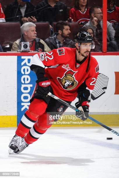 Chris Kelly of the Ottawa Senators skates during warmups prior to a game against the Montreal Canadiens at Canadian Tire Centre on March 18 2017 in...