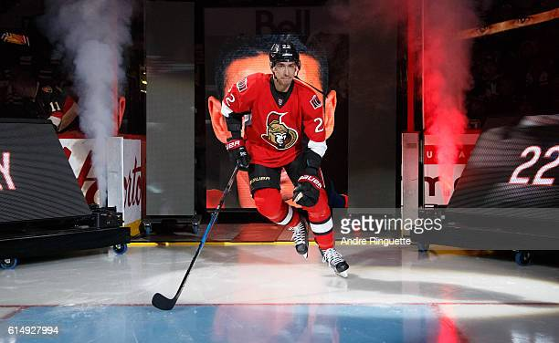 Chris Kelly of the Ottawa Senators steps onto the ice during player introductions prior to a game against the Toronto Maple Leafs at Canadian Tire...
