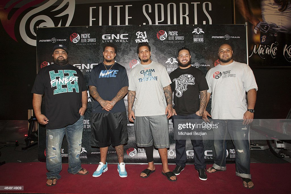 Chris Kemoeatu, Mike Pouncey, Maurkice Pouncey, Ray Maualuga and Maake Kemoeatu attend the Pacific Elite Sports Fitness Center Grand Opening on January 24, 2014 in Kaneohe, Hawaii.