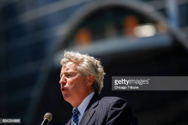 Chris Kennedy speaks at a ribbon cutting ceremony for the new Wolf Point development on June 15 2016 in Chicago Ill