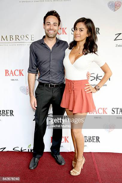 Chris Kenney and Aja Bradley attend the red carpet premiere for the new Amazon series 'Back Stabber' at the Ambrose Boutique Hotel on June 23 2016 in...