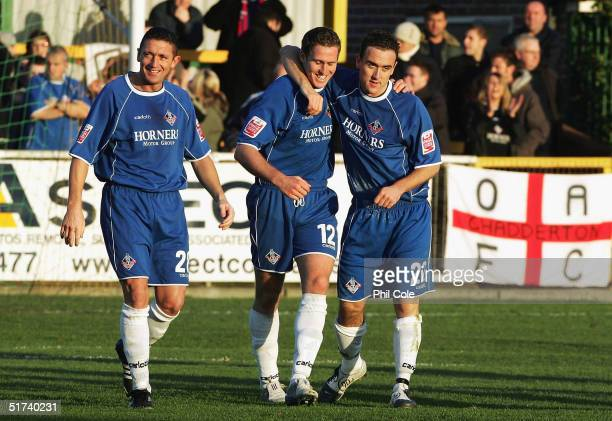 Chris Killen of Oldham is congratulated after he scores their winning goal during the FA Cup First Round match between Thurrock and Oldham Atheltic...