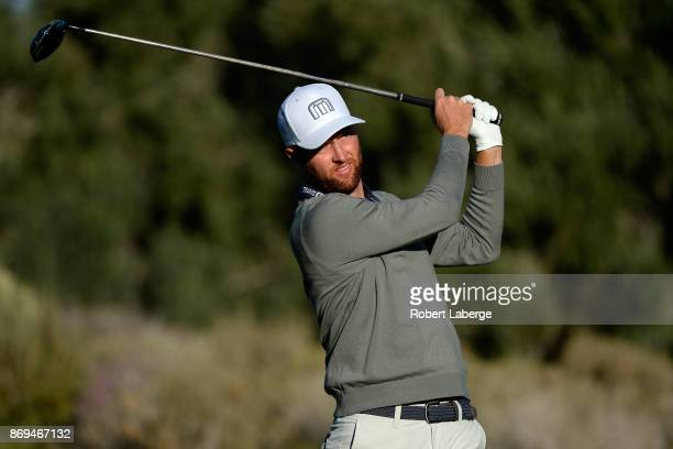 Chris Kirk hits his tee shot on the fourth hole during the first round of the Shriners Hospitals For Children Open at TPC Summerlin on November 2...
