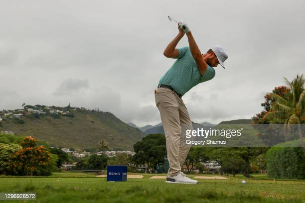 Chris Kirk of the United States plays his shot from the seventh tee during the final round of the Sony Open in Hawaii at the Waialae Country Club on...