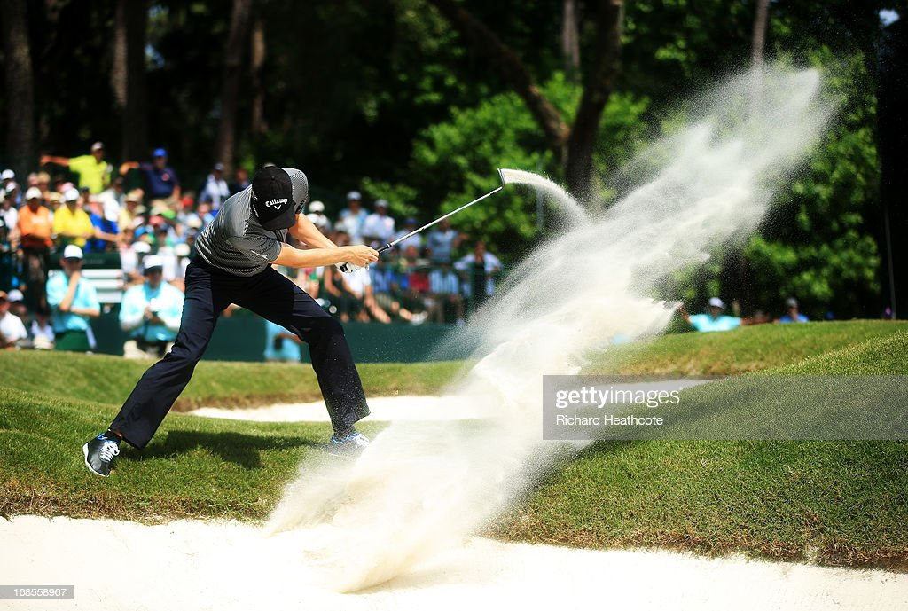 Chris Kirk of the USA plays his second shot from a bunker on the eighth hole during round three of THE PLAYERS Championship at THE PLAYERS Stadium course at TPC Sawgrass on May 11, 2013 in Ponte Vedra Beach, Florida.