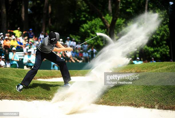 Chris Kirk of the USA plays his second shot from a bunker on the eighth hole during round three of THE PLAYERS Championship at THE PLAYERS Stadium...
