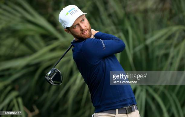 Chris Kirk plays a shot during a practice round prior to The PLAYERS Championship at the TPC Stadium course on March 12 2019 in Ponte Vedra Beach...