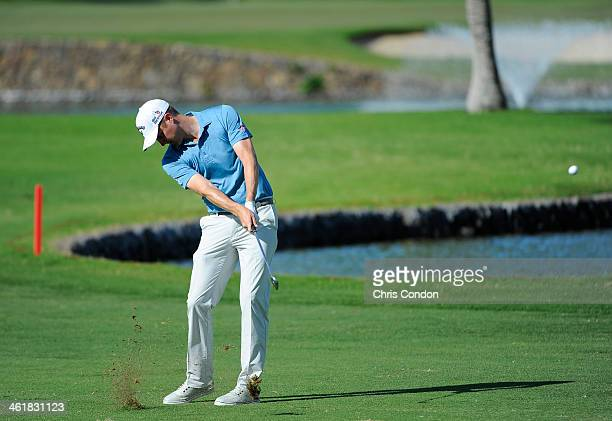 Chris Kirk plays his second shot on the second hole during the third round of the Sony Open in Hawaii at Waialae Country Club on January 11 2014 in...