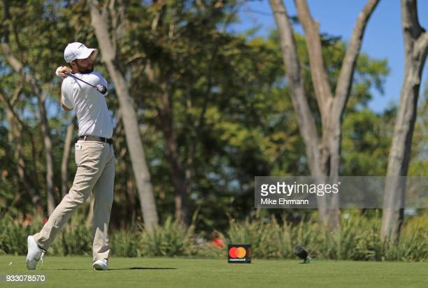 Chris Kirk plays his shot from the third tee during the third round at the Arnold Palmer Invitational Presented By MasterCard at Bay Hill Club and...