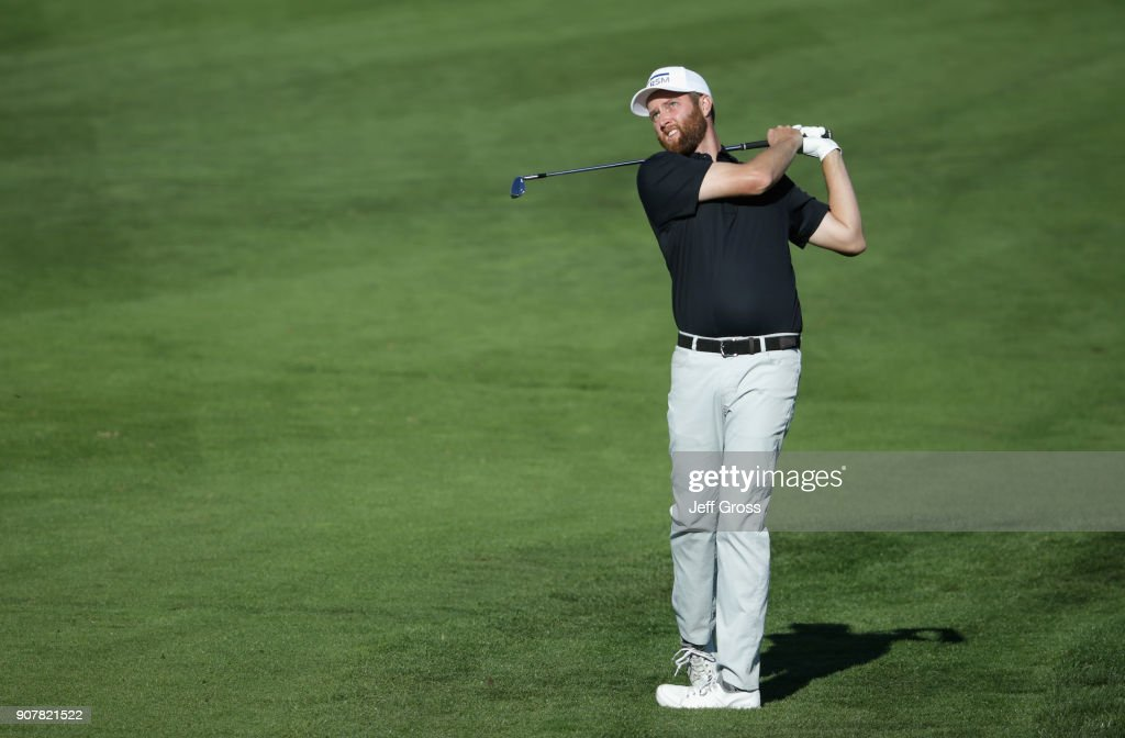 Chris Kirk plays his shot on the ninth hole during the third round of the CareerBuilder Challenge at the TPC Stadium Course at PGA West on January 20, 2018 in La Quinta, California.