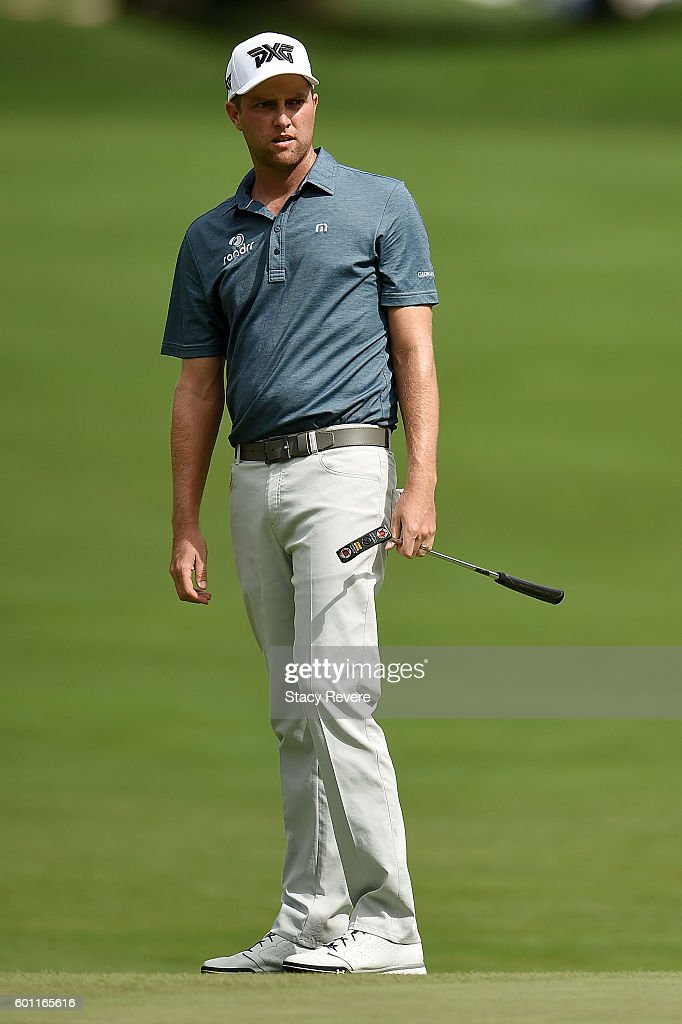 Chris Kirk reacts to a missed birdie putt on the fourth green during the second round of the BMW Championship at Crooked Stick Golf Club on September 9, 2016 in Carmel, Indiana.