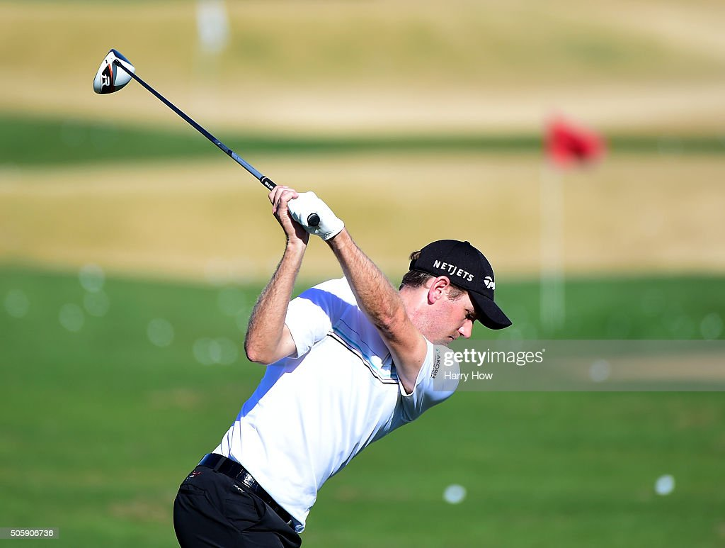Chris Kirk warms up on the driving range during preview for the CarerrBuilder Challenge In Partnersihip With The Clinton Foundation at the TPC Stadium Course at PGA West on January 20, 2016 in La Quinta, California.