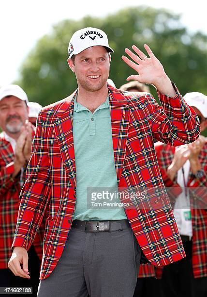 Chris Kirk waves after winning during the final round of the Crowne Plaza Invitational at the Colonial Country Club on May 24 2015 in Fort Worth Texas