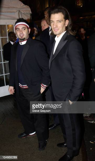 Chris Kirkpatrick and JC Chasez during 2003 Clive Davis PreGRAMMY Party Outside Arrivals at The Wall Street in New York City New York United States